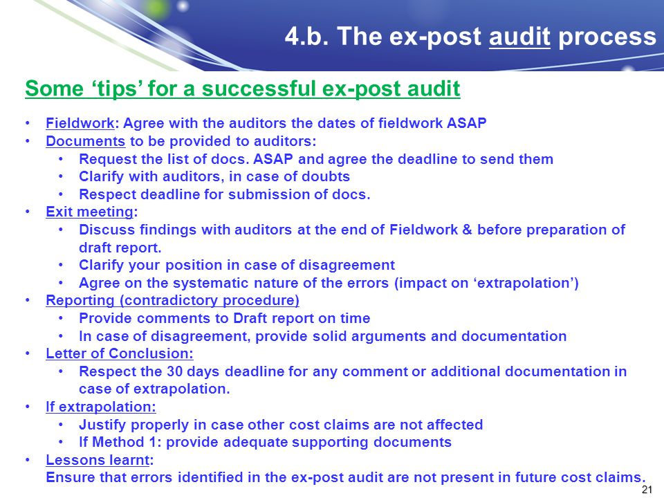 4.b. The ex-post audit process