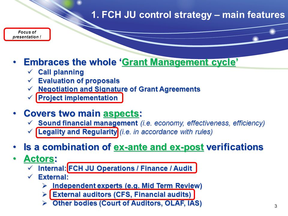 1. FCH JU control strategy – main features