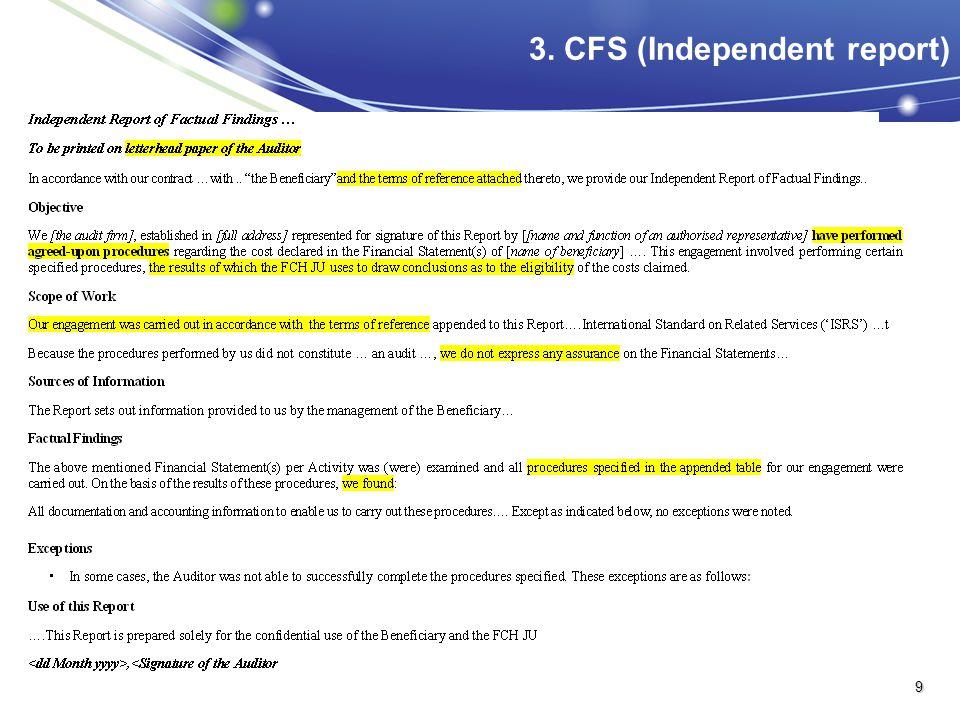 3. CFS (Independent report)