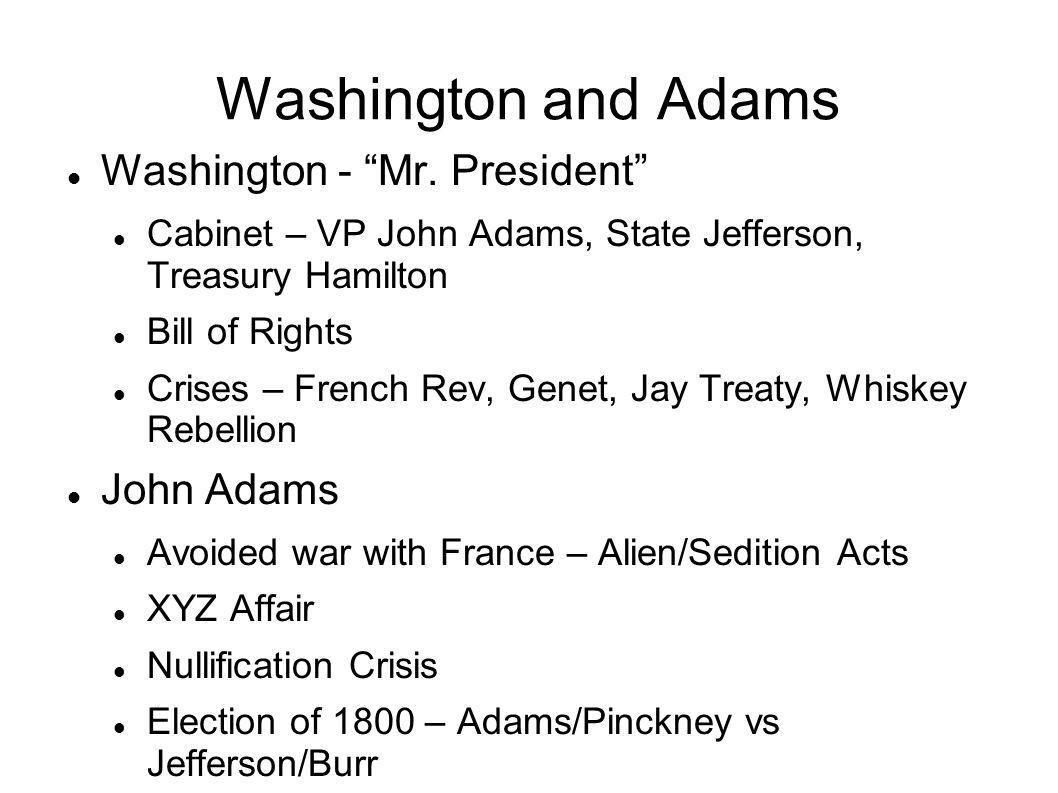 Washington and Adams Washington - Mr. President John Adams
