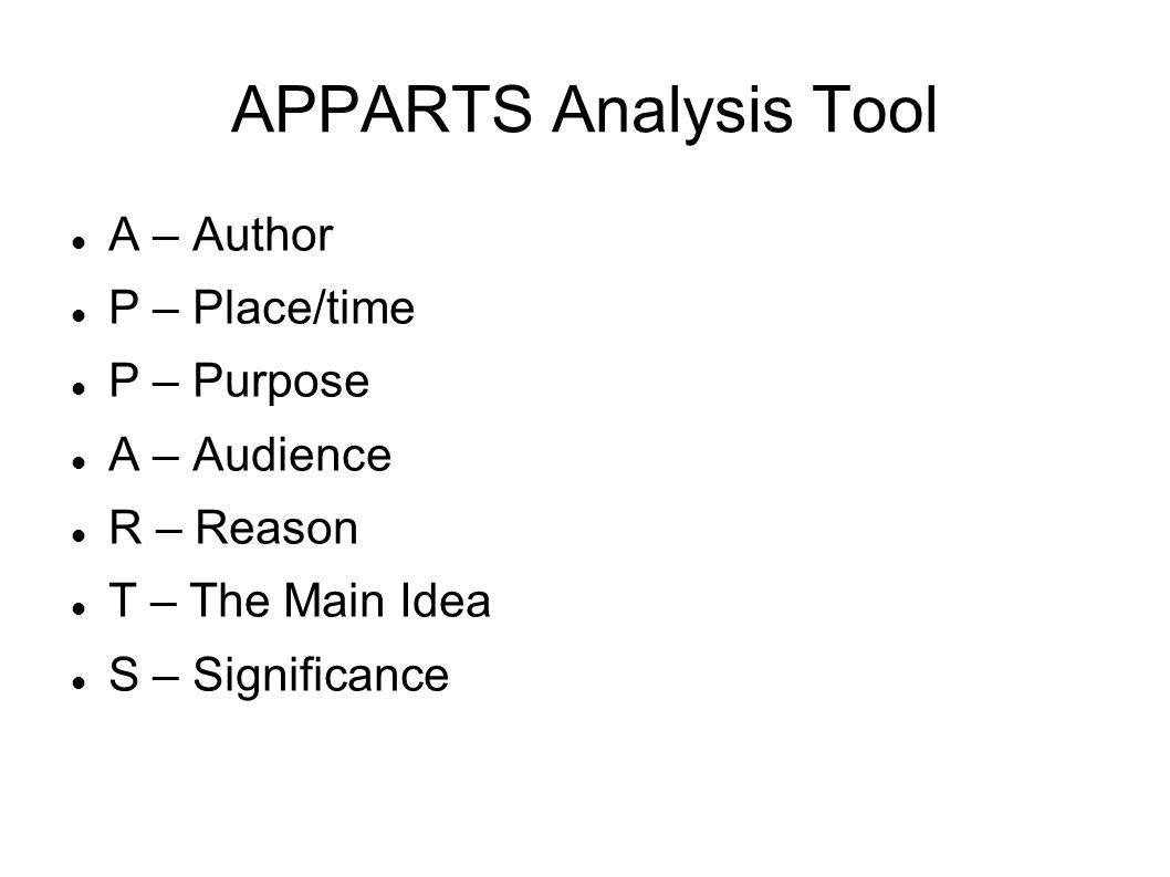 APPARTS Analysis Tool A – Author P – Place/time P – Purpose