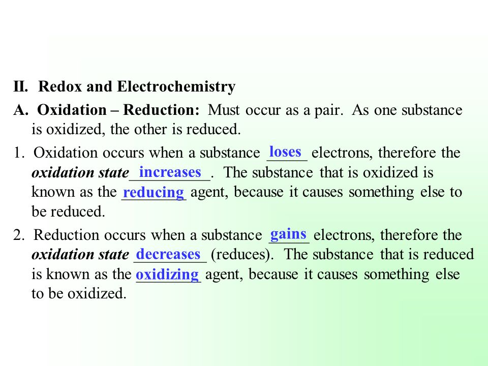 II. Redox and Electrochemistry