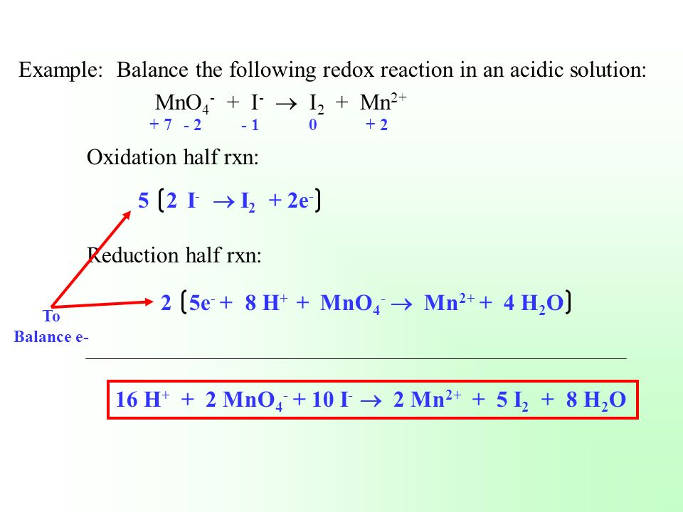 Example: Balance the following redox reaction in an acidic solution: