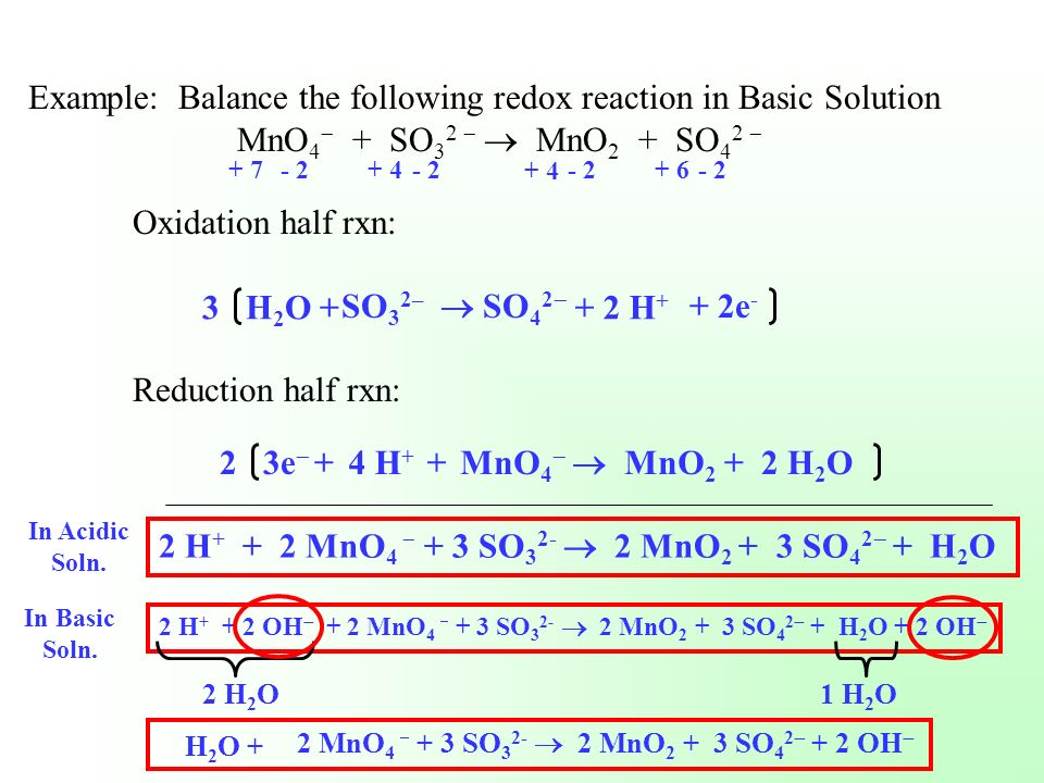 Example: Balance the following redox reaction in Basic Solution
