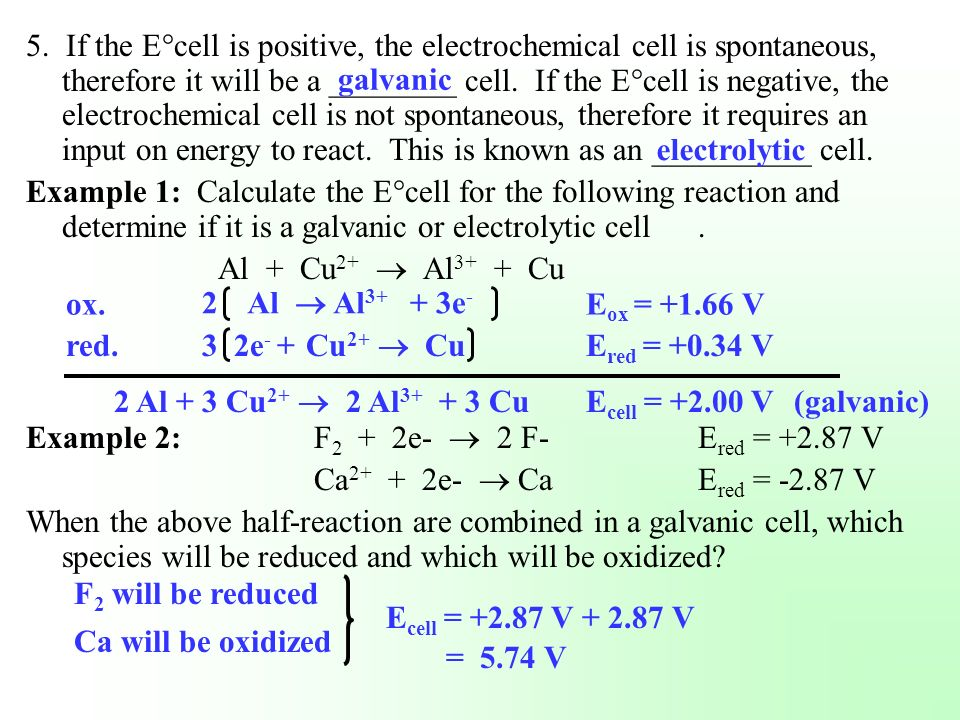 5. If the E°cell is positive, the electrochemical cell is spontaneous, therefore it will be a ________ cell. If the E°cell is negative, the electrochemical cell is not spontaneous, therefore it requires an input on energy to react. This is known as an __________ cell.