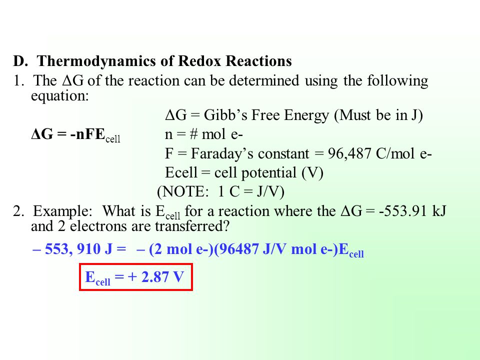 D. Thermodynamics of Redox Reactions