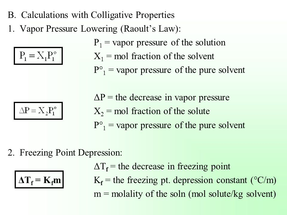 B. Calculations with Colligative Properties
