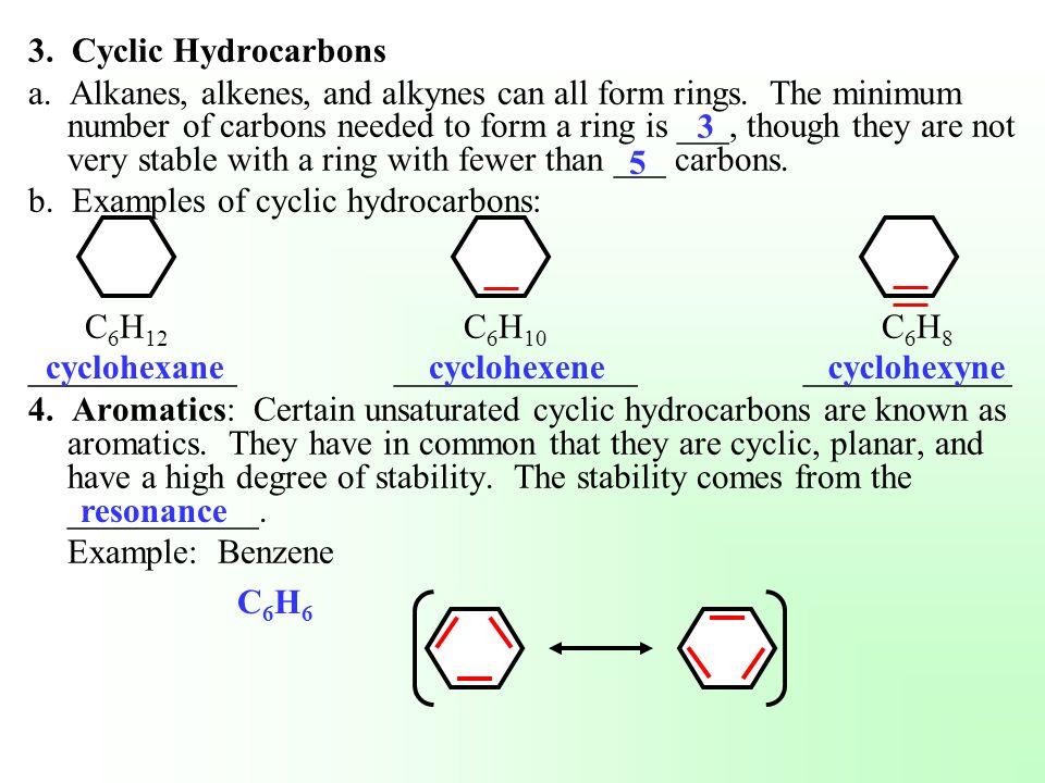 3. Cyclic Hydrocarbons