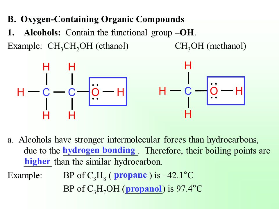 C H O C H O B. Oxygen-Containing Organic Compounds