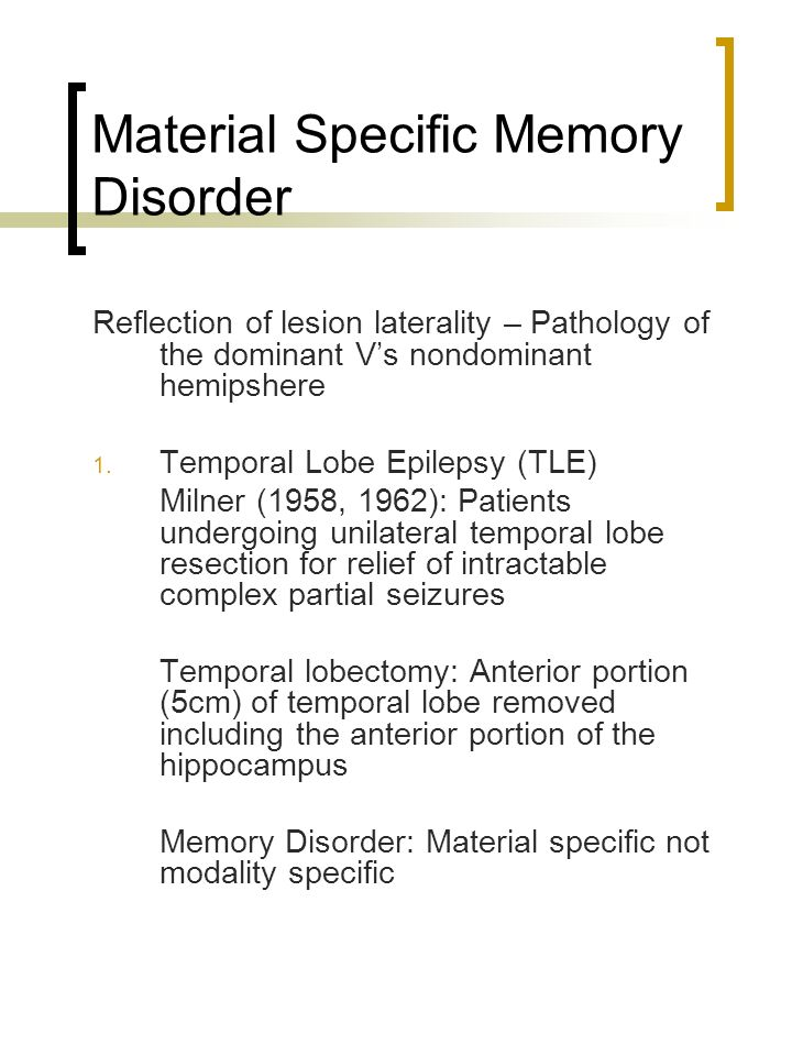 Material Specific Memory Disorder