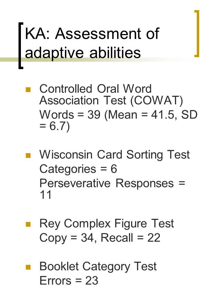 KA: Assessment of adaptive abilities