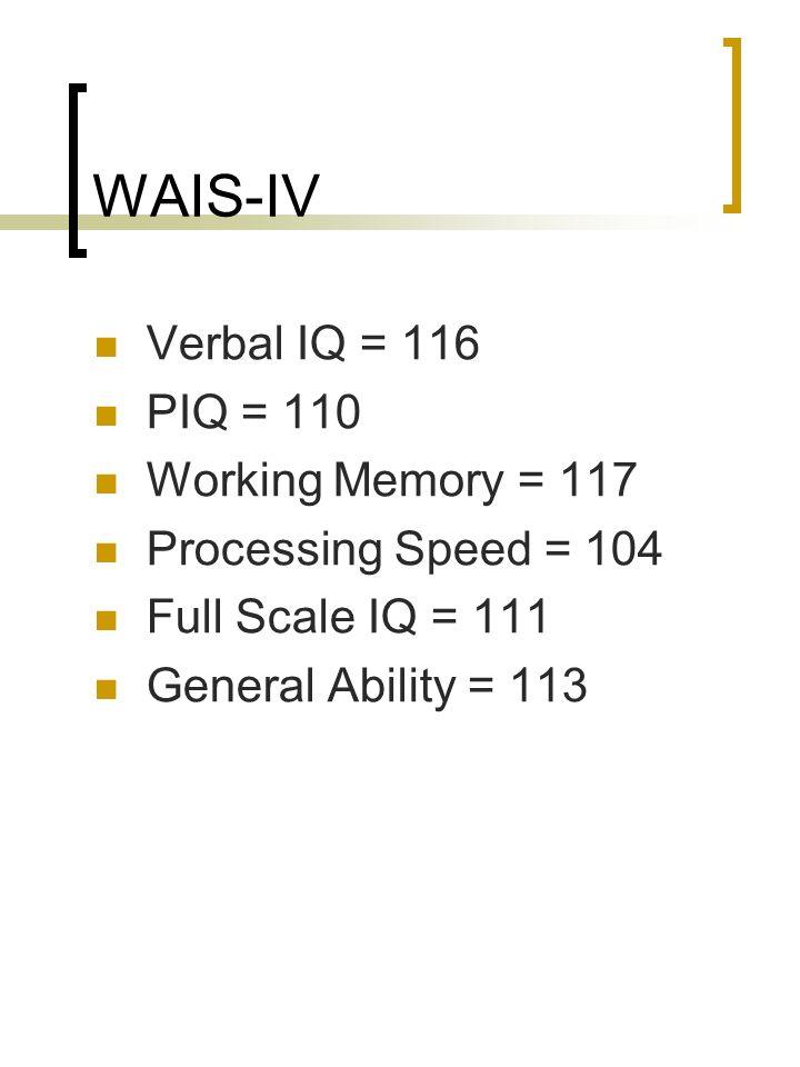 WAIS-IV Verbal IQ = 116 PIQ = 110 Working Memory = 117