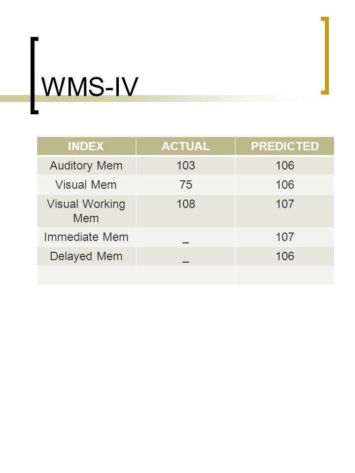 WMS-IV INDEX ACTUAL PREDICTED Auditory Mem 103 106 Visual Mem 75