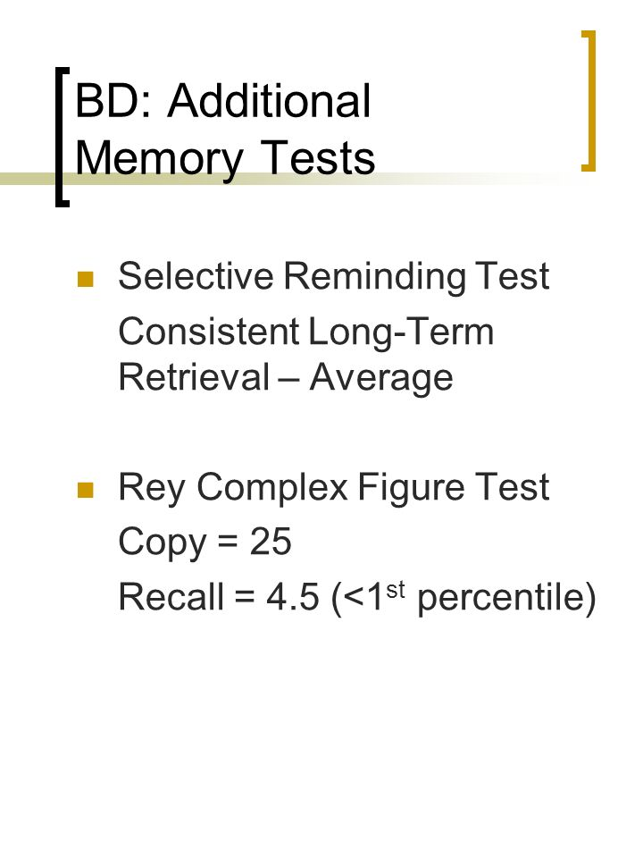 BD: Additional Memory Tests