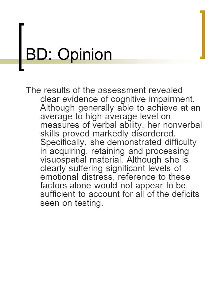 BD: Opinion