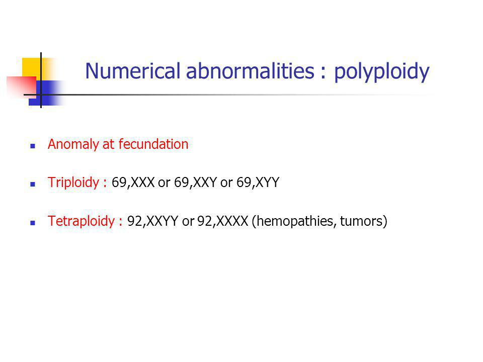 Numerical abnormalities : polyploidy