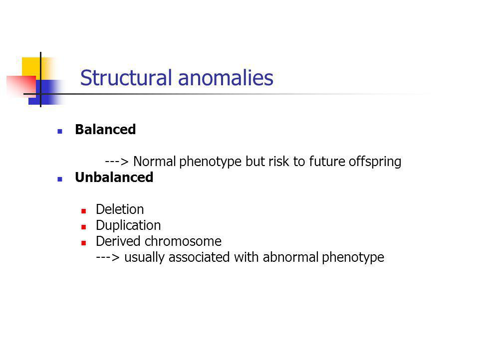 Structural anomalies Balanced