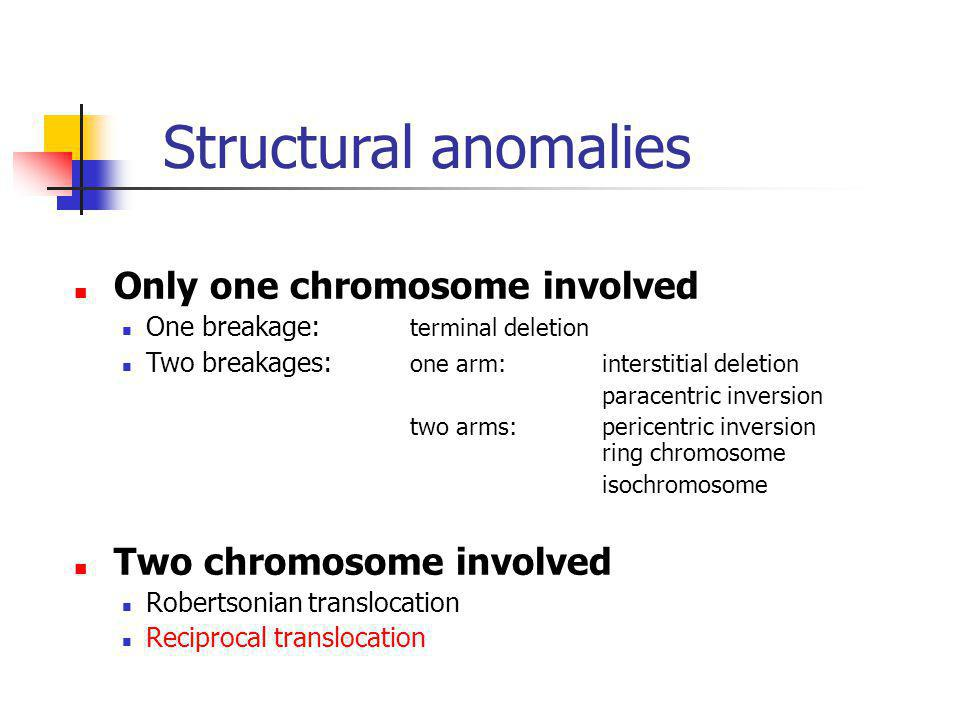 Structural anomalies Only one chromosome involved
