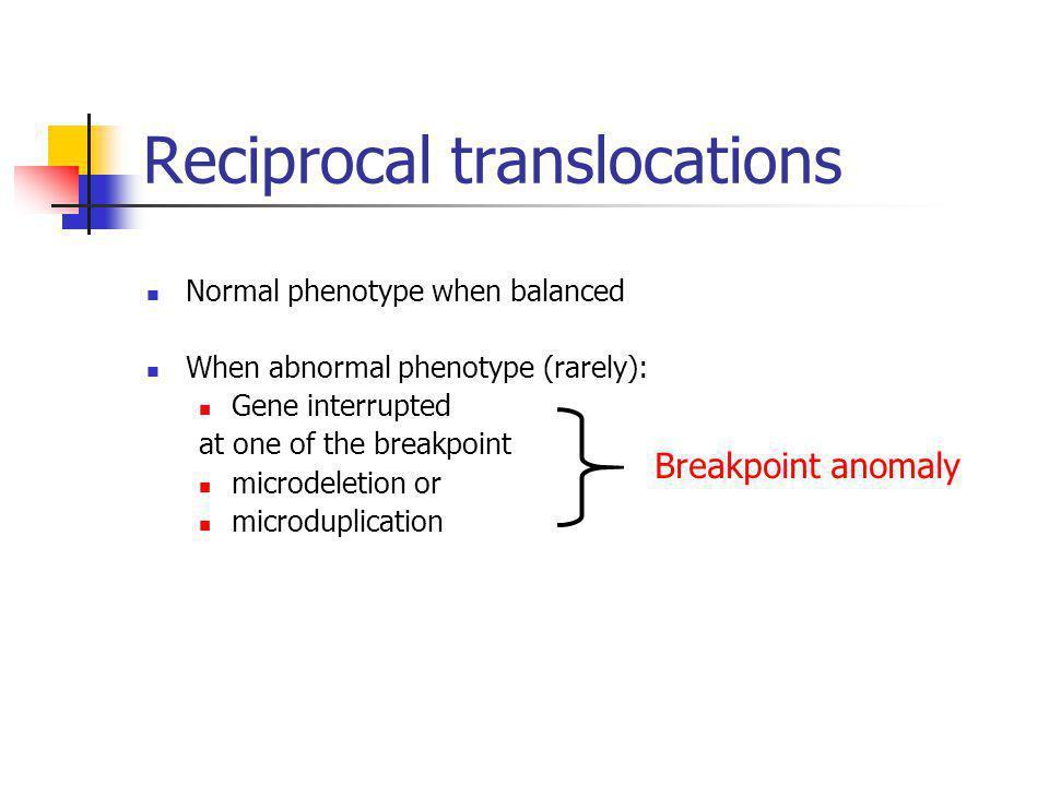 Reciprocal translocations