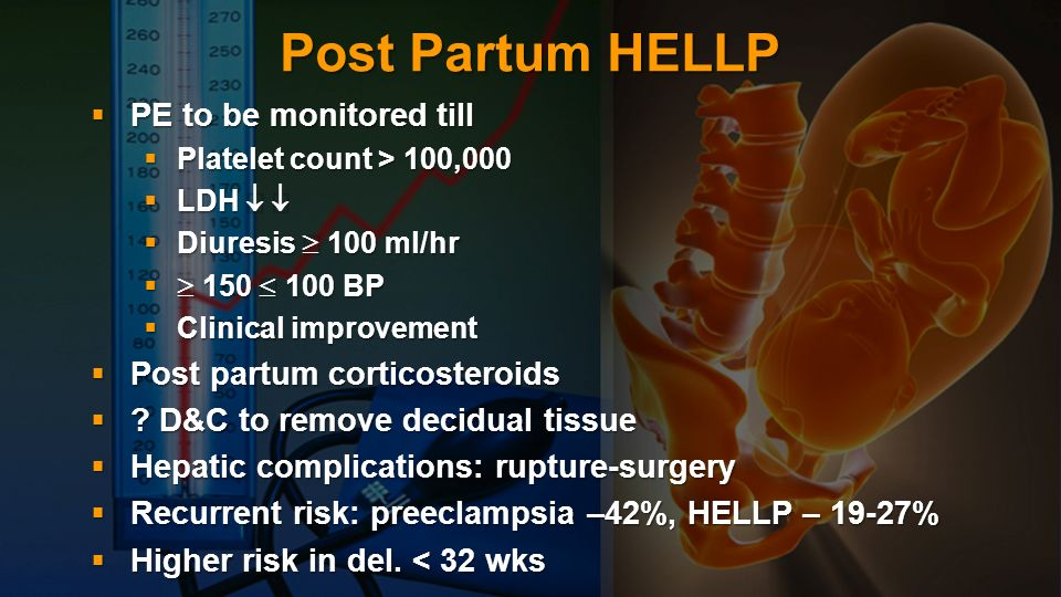 Post Partum HELLP PE to be monitored till Post partum corticosteroids