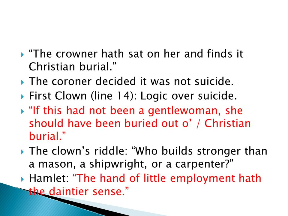 The crowner hath sat on her and finds it Christian burial.