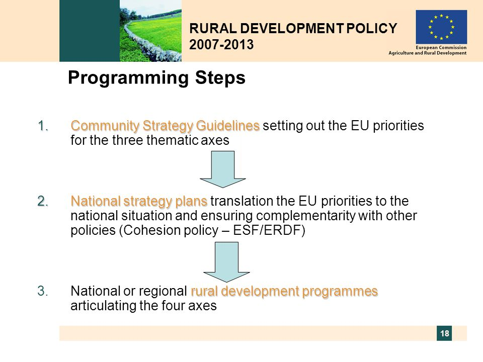 Programming Steps RURAL DEVELOPMENT POLICY 2007-2013