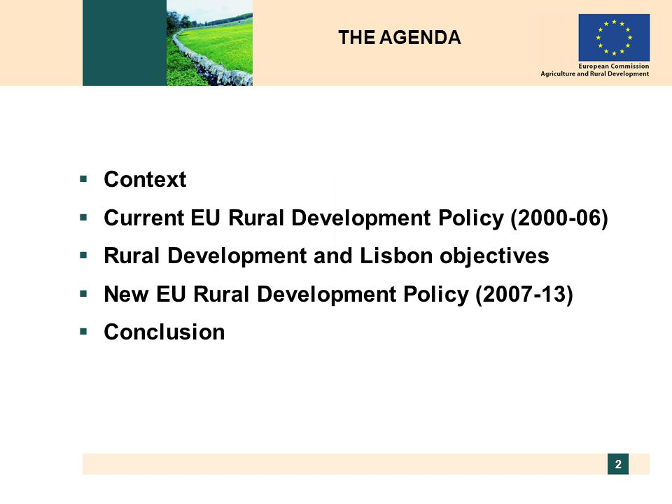 Current EU Rural Development Policy (2000-06)