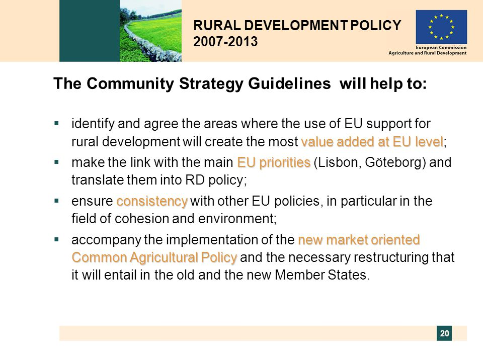The Community Strategy Guidelines will help to: