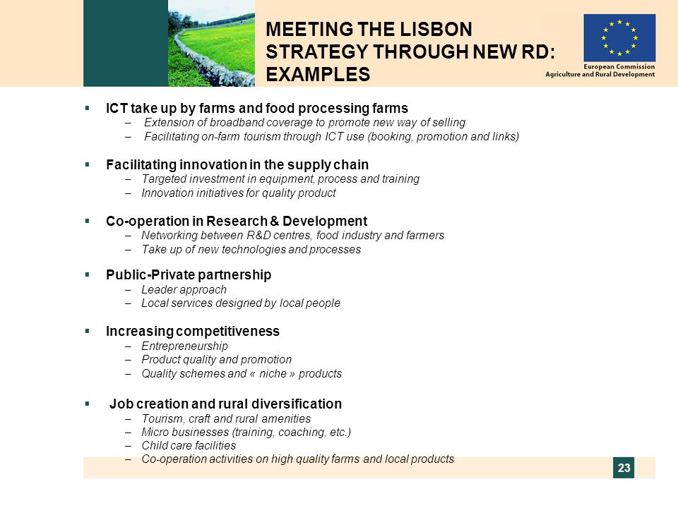 MEETING THE LISBON STRATEGY THROUGH NEW RD: EXAMPLES
