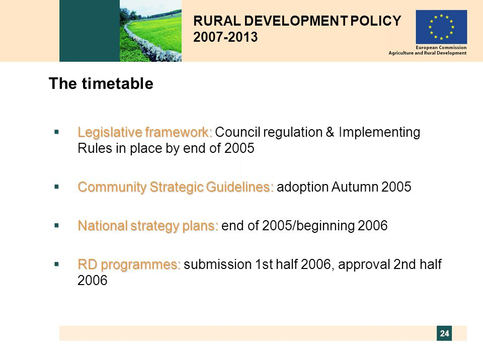 The timetable RURAL DEVELOPMENT POLICY 2007-2013