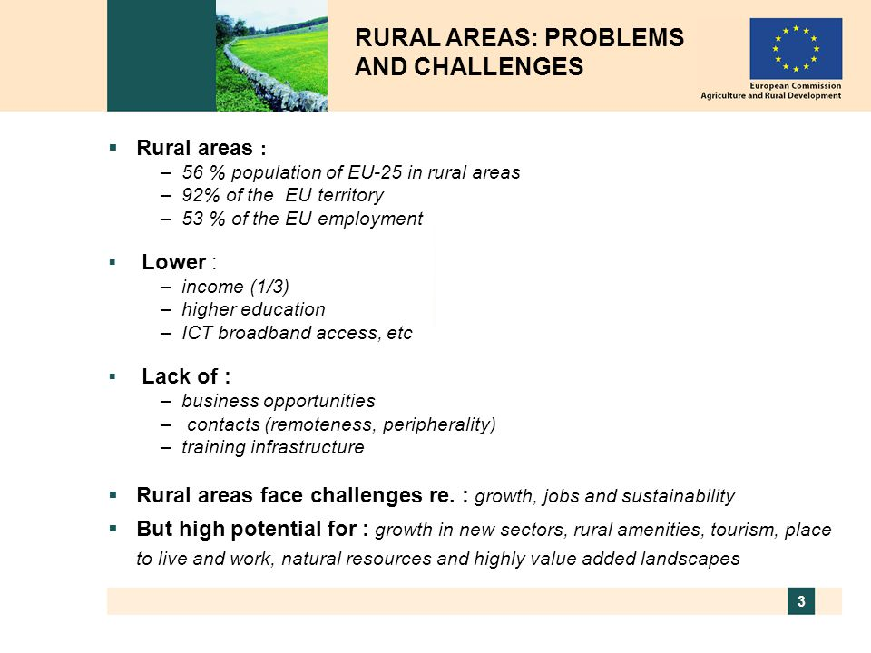 RURAL AREAS: PROBLEMS AND CHALLENGES
