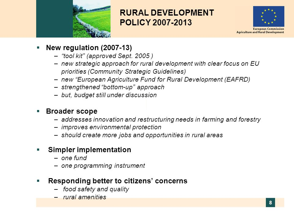 RURAL DEVELOPMENT POLICY 2007-2013