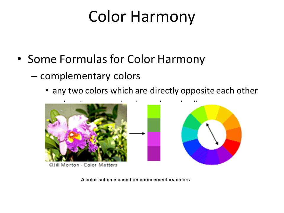Color Harmony Some Formulas for Color Harmony complementary colors