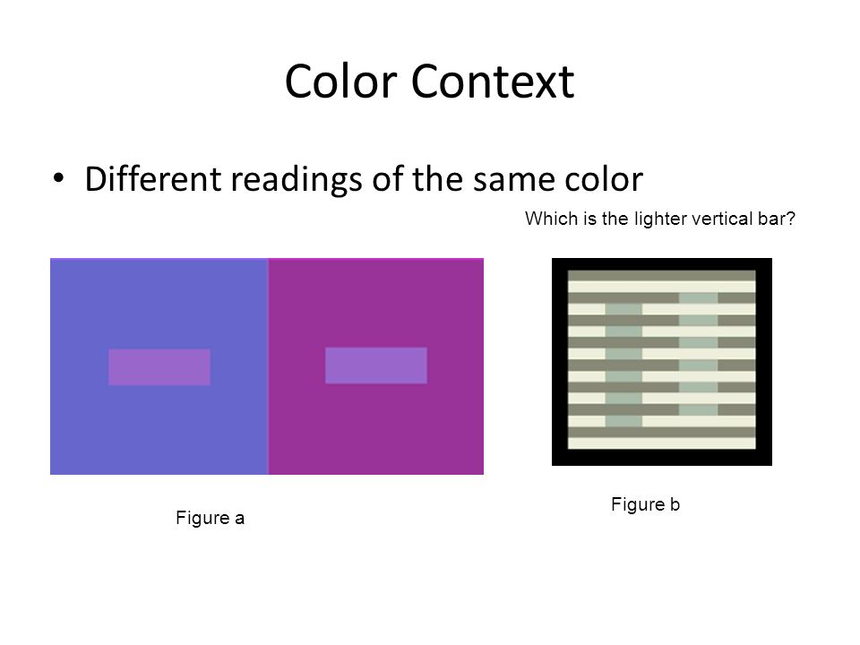 Color Context Different readings of the same color