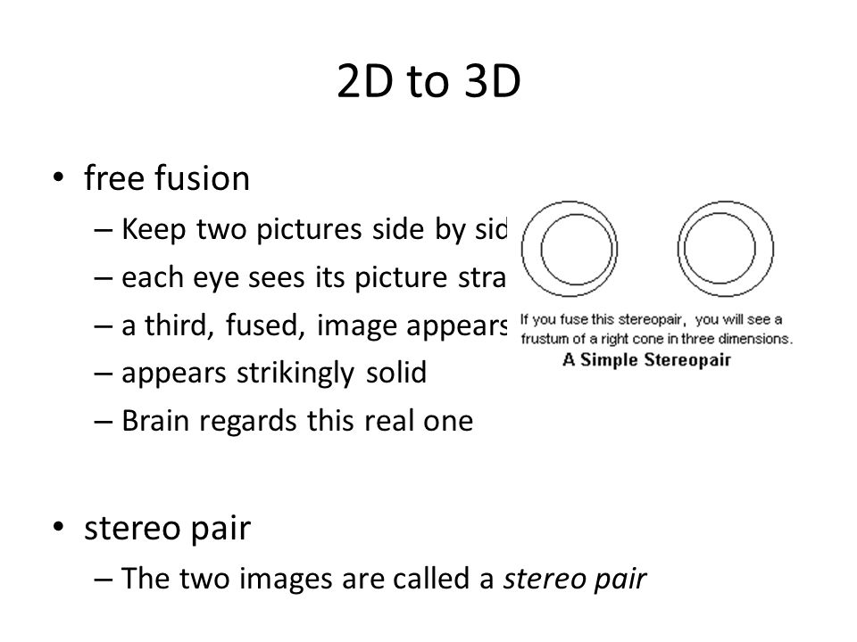 2D to 3D free fusion stereo pair Keep two pictures side by side