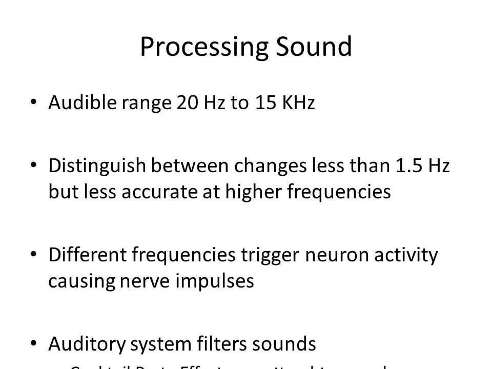 Processing Sound Audible range 20 Hz to 15 KHz