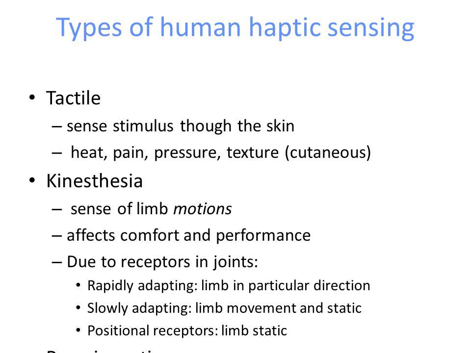 Types of human haptic sensing