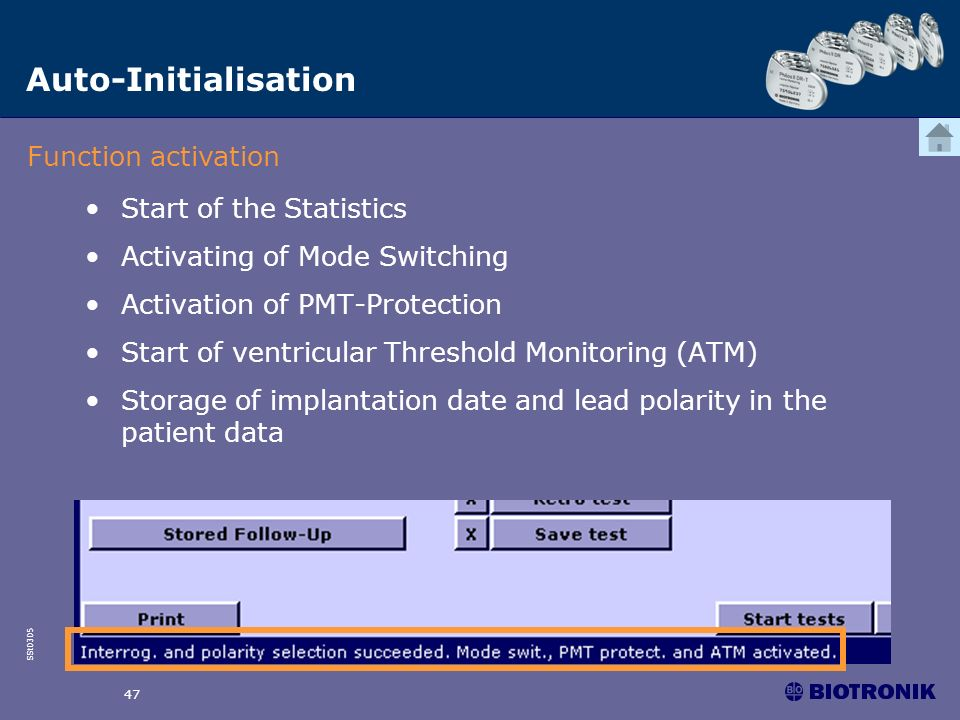 Auto-Initialisation Function activation Start of the Statistics