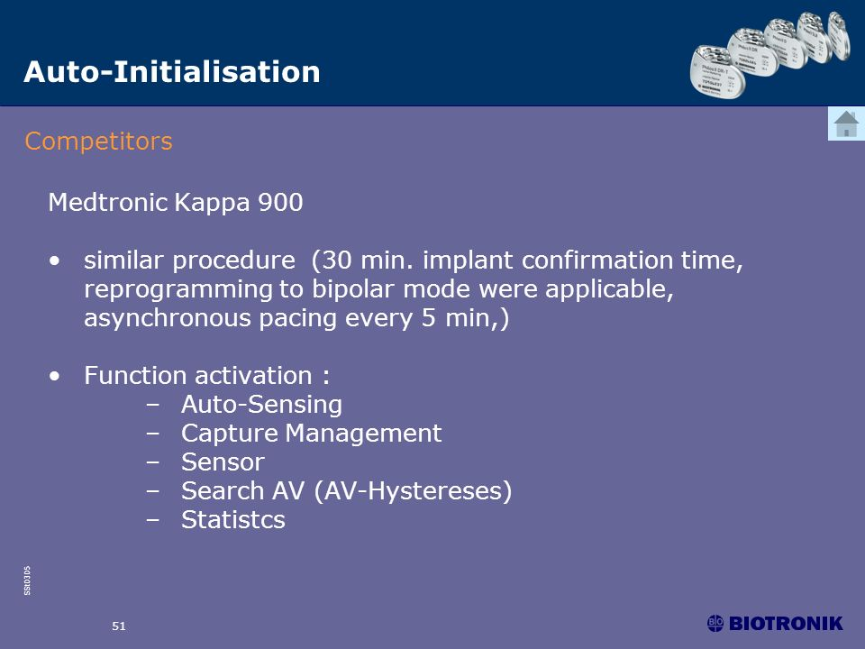 Auto-Initialisation Competitors Medtronic Kappa 900