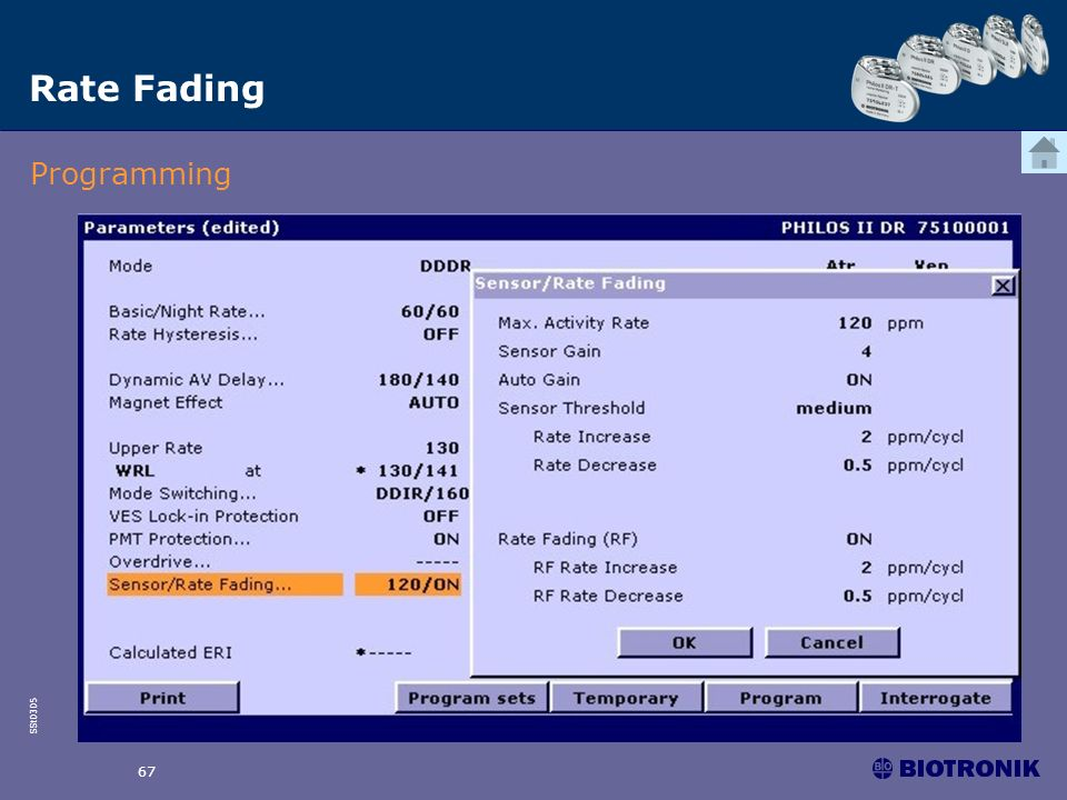 Rate Fading Programming 67