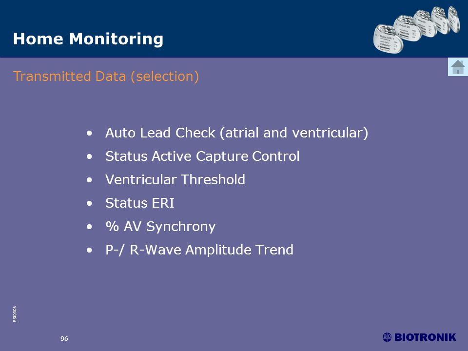 Home Monitoring Transmitted Data (selection)