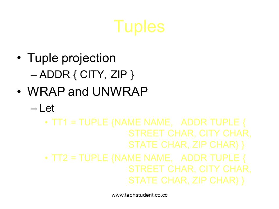 Tuples Tuple projection WRAP and UNWRAP ADDR { CITY, ZIP } Let