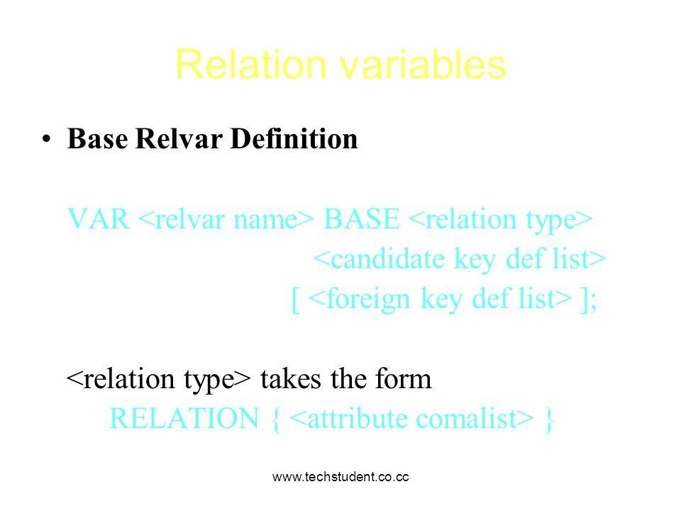 Relation variables Base Relvar Definition