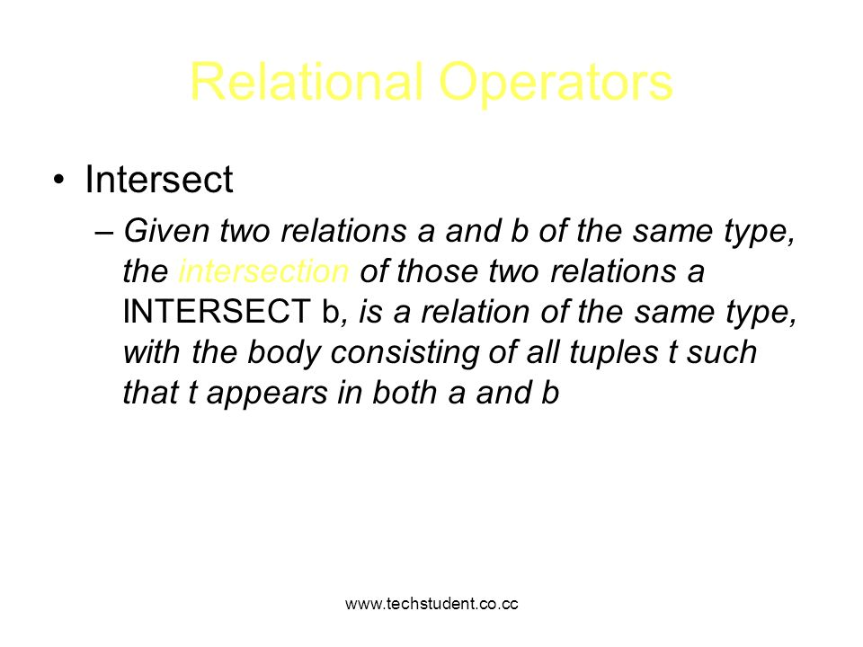 Relational Operators Intersect