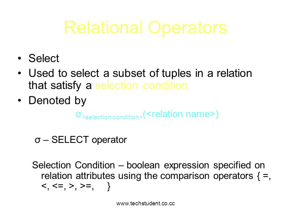 Relational Operators Select