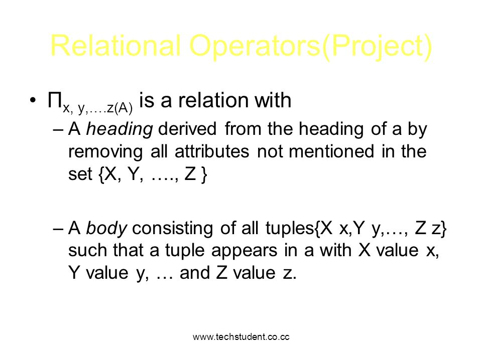 Relational Operators(Project)