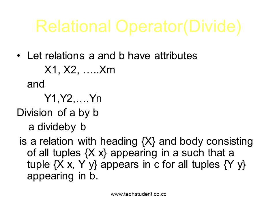 Relational Operator(Divide)