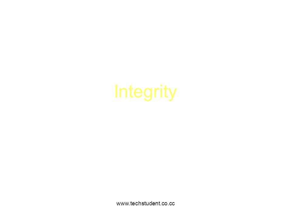 Integrity www.techstudent.co.cc www.techstudent.co.cc