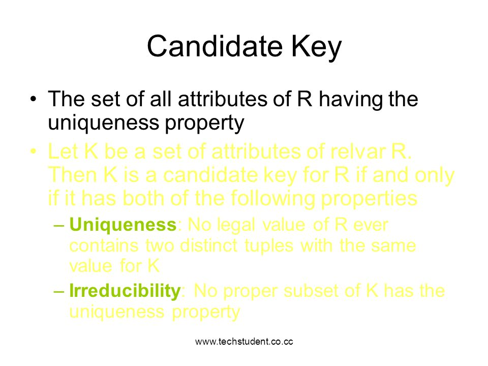 www.techstudent.co.cc Candidate Key. The set of all attributes of R having the uniqueness property.