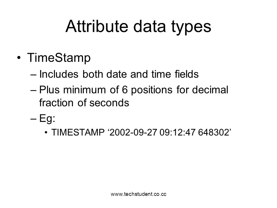 Attribute data types TimeStamp Includes both date and time fields